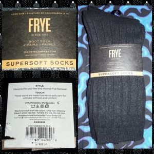 2Prs Frye Solid Black Supersoft Boot Socks Sz 5-10